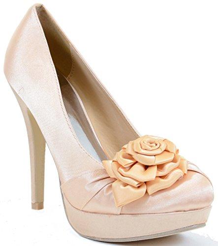 Flirt High Heel Heels (Satin Ribbon Bow Closed Toe Stiletto Heel Pump Beige)