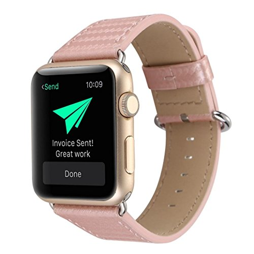 (BETTERUU Carbon Fiber Leather Strap Replacement Watch Band for Apple Watch 38mm 42mm (Rose Gold, 38MM))