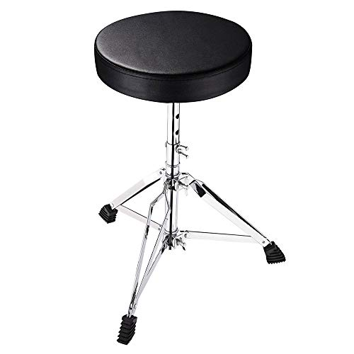 """AW Drum Throne Padded Seat Drummer Stool Round Chair 12""""-20"""" Adjustable Height Folding Stand Percussion Accessory"""