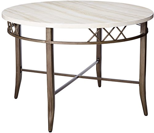 Acme Furniture Acme 73000 Aldric Faux Marble Dining Table, Antique - Tables Marble Antique