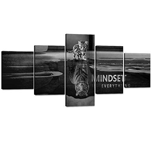 Mindset is Everything Motivational Wall Art 5 Pieces Inspirational Entrepreneur Quotes Canvas Painting Poster Print Artwork for Living room Bedroom Office Home Decor Framed Ready to Hang (50