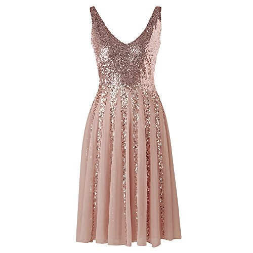 DEZZAL Women's Sleeveless V-Neck Sequined Chiffon A-Line Cocktail Party Dress (Pink, 2XL) (Sequined Chiffon Dress)