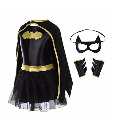 Mariego Girls Batman Suit Halloween Costume (XL/Height (Girl Batman Costume)
