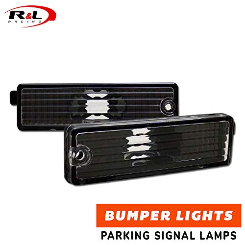 R&L Racing Black Clear Bumper Lights Side Marker Reflector K2 1993-2002 for Chevy Camaro/Firebird