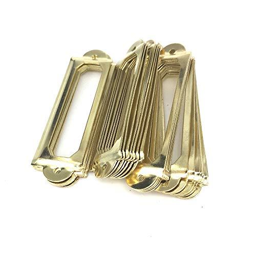 - Kasuki 60mm x 17mm Archive Label Fitting Metal Oblong tag holder Craft Furniture Storage Box label Frames Gold card holders for drawers