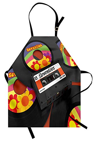 Ambesonne 70s Party Apron, Compact Cassette Player and Some Vinyl Records with Seventies Text Oldschool, Unisex Kitchen Bib Apron with Adjustable Neck for Cooking Baking Gardening, Multicolor (Cassette Romantics The)