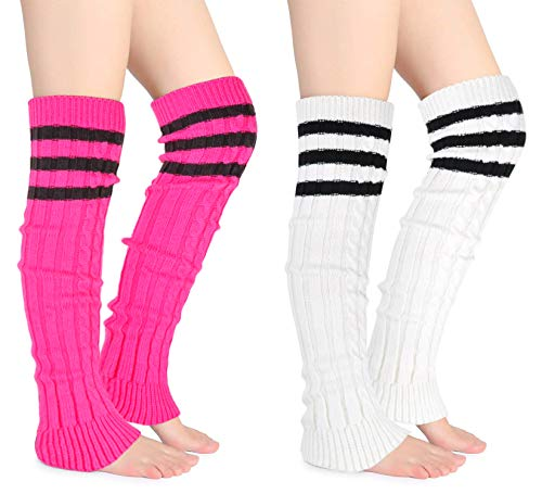 Joyingtwo Crochet Footless Long Socks Ribbed Knee Thigh Highs Leg Warmers for Women (stripe-rose&white(2 pairs))