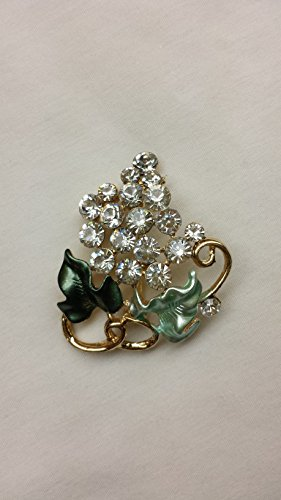 Adorable Bling Fashion Jewelry Crystal Rhinestone Pin Leaves Design Brooch Pin Green Tone in Gold Finish