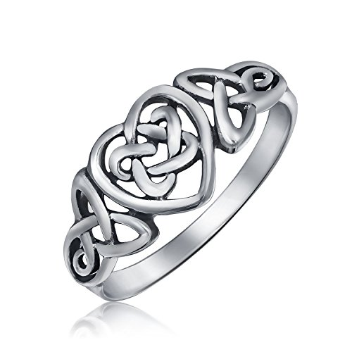 (Bff Irish Love Knots Infinity Heart Celtic Promise Ring For Teens For Women Oxidized 925 Sterling Silver 1MM Band)