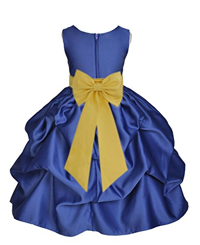 Sash Taffeta Wedding Dress (Wedding Pageant Navy Blue Pick-up Taffeta Flower Girl Dress Easter Todller 208t 8)