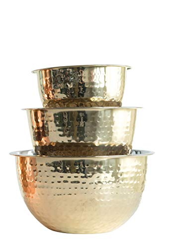 - Creative Co-Op Hammered Stainless Steel Bowls in Gold Finish (Set of 3 Sizes)