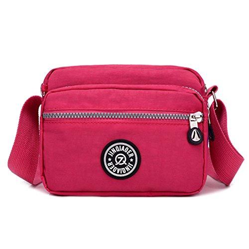 2 Bandolera Bolsas de Moda Bolso para Bolsas Outreo Bolsos Viaje de Mujer Pequeña Ligero Escuela Casual Rojo Impermeable Deporte de Bolsos xYIYRpTqn