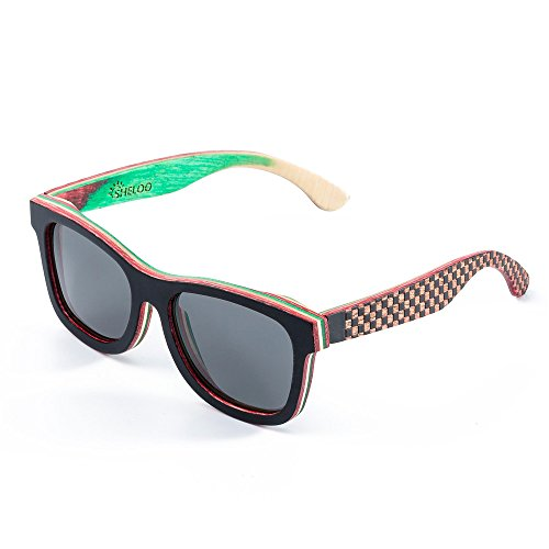 Wood Sunglasses for Men and Women Polarized Wooden Bamboo Wayfarer Style ()