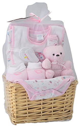 Big Oshi Baby Essentials 9 Piece Layette Basket Gift Set, Pink