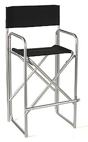 Displays2go Aluminum Director s Chair with Black Canvas Back and Seat, 47-Inch, Satin Silver