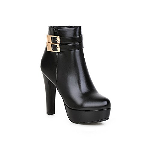 AdeeSu Womens Chunky Heels Platform Buckle Imitated Leather Boots Black f2oT3CMDf