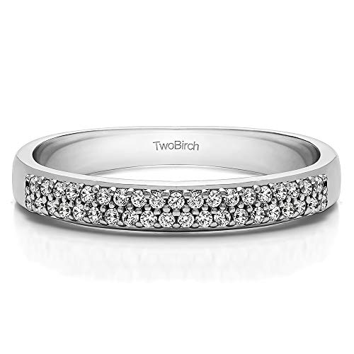 Sterling Silver Diamond 0.2 CT Double Row Pave Set Wedding Ring (Size 3 To 15 in 1/4 Size Interval)