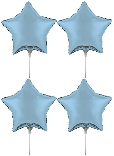 Set of 4 Foil Air Filled Balloons! Helium Free - Sticks and Joiner - Stars - Unique Themes - Party Balloons and Birthday Balloons Perfect for any Party Decoration! (4ct Pastel Blue 18