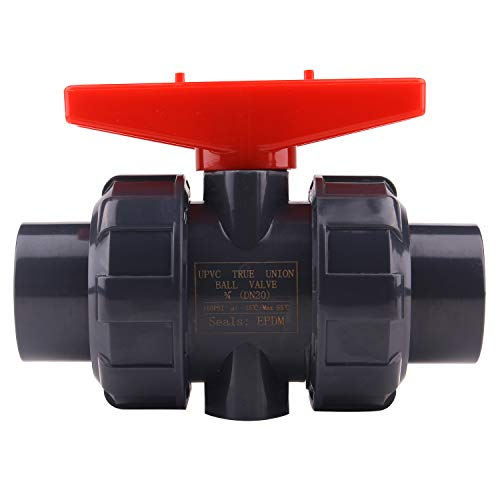 True Union Ball Valve with Full Port-1'' PVC Compact Ball Valve with EPDM O-Rings, Reversible PTFE Seats, Rated at 200 PSI, 1 inch -