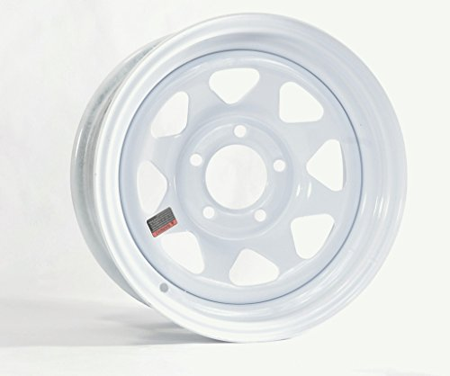 eCustomRim Trailer Wheel Rim 14x6 14 in. 5 Bolt Hole 4.5 in. OC White Steel Spoke w/Stripe