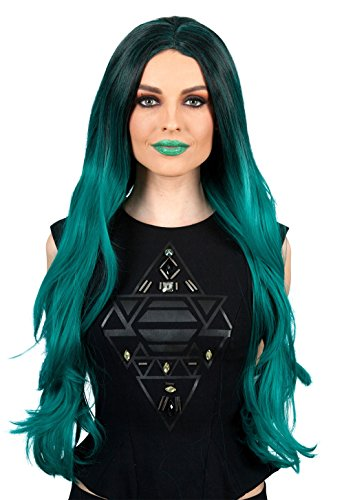 Politically Incorrect Costume (ALLAURA Green Black Witch Wig | Halloween Long Ombre Cosplay | Heat Resistant)