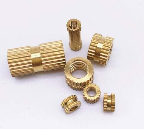 Nuts 500 Pcs M2 Insert Nuts Brass Through Set Thumb Brass Knurled Round Nut Injection Moulding - (Size: M2 x 10, Color: OD 3.5mm)