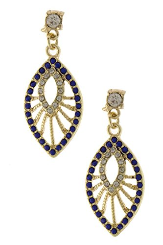 DIVA & DUCHESS GORGEOUS RHINESTONE AND BEAD ENCRUSTED LEAF DROP EARRING (Blue) (Disco Ball Diva Costume)