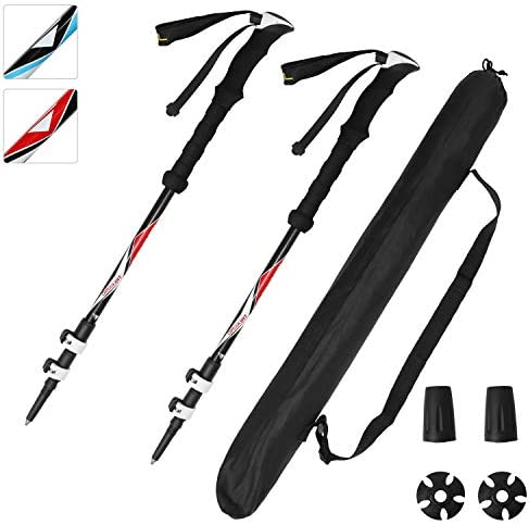 ioutdoor 2 Pack Trekking Poles 100 Carbon Fiber Collapsible Lightweight, Safety Survival Kit for Men Women, Bear Protection for Hiking Camping Mountain Climbing Outdoor Activities