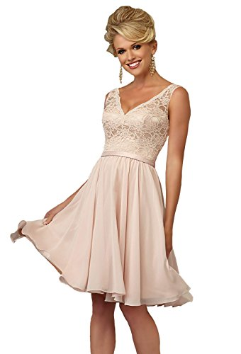 YORFORMALS Women's V-Neck Knee Length Bridesmaid Dress Short Formal Evening Party Gown Lace Bodice Size 6 Blush Pink