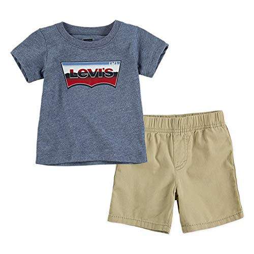 Levi's Baby Boys Graphic T-Shirt and Shorts Two-Piece Set, Navy Heather/Pale Khaki, 9M (Baby Levi Clothing)