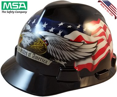 MSA USA Freedom Series Hard Hat with Staz On Suspension - American Pride USA hard hats by Texas America Safety Company