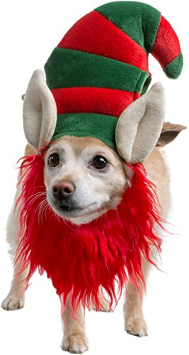 Elf Hat with Beard Red Costume for Pet Dog Wig Festival Party Fancy Hair Cat Clothes Lion Mane