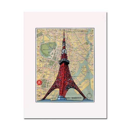 (Tokyo Tower art print. Enhance your home or office. Gallery quality. Matted and ready-to-frame.)