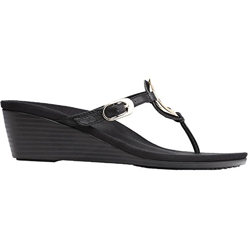 Vionic Women's Orchid Arch Support Thong Wedge Sandal Black 7.5 M US