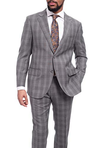(Napoli Classic Fit Gray Glen Plaid Half Canvassed Super 150s Wool Suit)