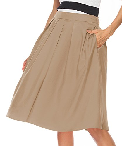 REGAI Women's High Waisted A line Skirt Skater Pleated Full Midi Skirt Khaki-L