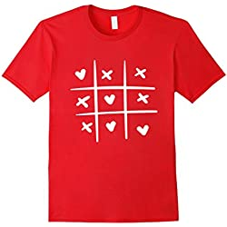Men's Valentines Day Tic Tac Toe Game T-Shirt: Chalk Heart X and O Large Red