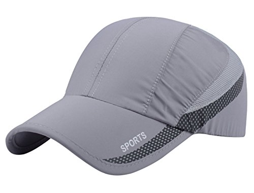 - Unisex Mesh Brim Tennis Cap Outside Sunscreen Quick Dry Adjustable Baseball Hat Light Grey