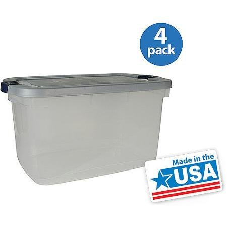 16.5-gallon (66-quart) Roughneck Clears Storage Box, Clear/gray, Set of 4 ()