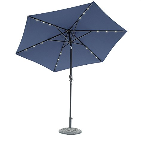 9' Round Solar Lighted Umbrella - Sturdy Steel Frame (Navy Blue)