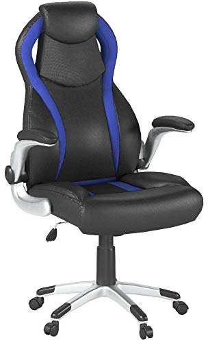 SEATZONE Swivel Leather Gaming Chair With Flip-Up Armrest, Headrest, Lumbar Support, Racing Style Car Seat Computer Chair, Blue SEATZONE