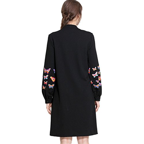 Kleid Unterseite Lose Winter Blumendruck Stand Herbst Black Collar Frühling Frauen Großer Kleid Rock PqfUwA