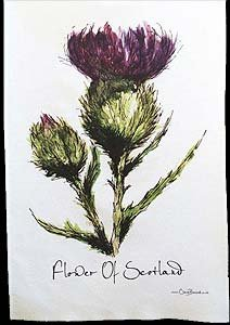 Flower of Scotland Tea Towel in a Scottish Thistle Design