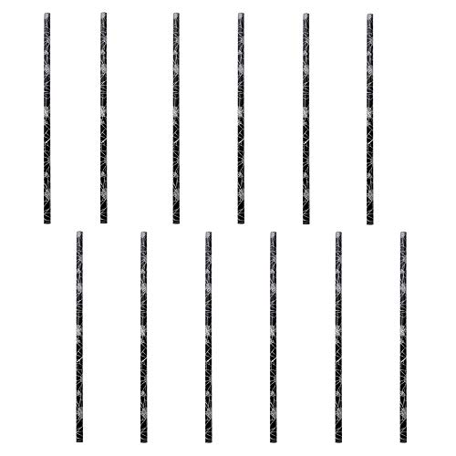Halloween Paper Straws, 50 Pcs Spider Web Pattern Straws for Party Supplies (Spider web) ()