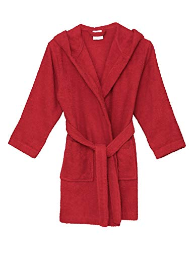 TowelSelections Big Girls' Robe, Kids Hooded Cotton Terry Bathrobe Cover-up Size 10 Lollipop