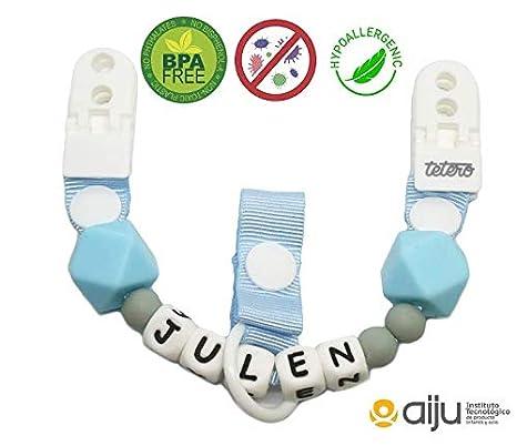 Chupetero Tetero opción personalizado (personalización con el nombre) cadena para chupete silicona orgánica
