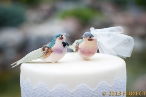Charming Love Bird Cake Topper: ''Bride and Groom'' Wedding Cake Topper in Teal Green and Orchid Purple by Becky Kazana (Image #1)