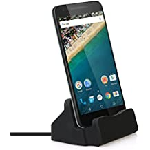Efanr USB C Charger Dock, Type-C Aluminum Charge Data Sync Desktop Charging Station Stand Cradle Holder for Samsung Galaxy S8 S8 Plus, Google Pixel, Nexus 6P/5X, OnePlus 5, LG G6/G5 & More (Black)