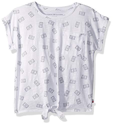 (Tommy Hilfiger Big Girl's Big Girls' Short Sleeve Fashion Top Shirt, tossed white, L12/14)