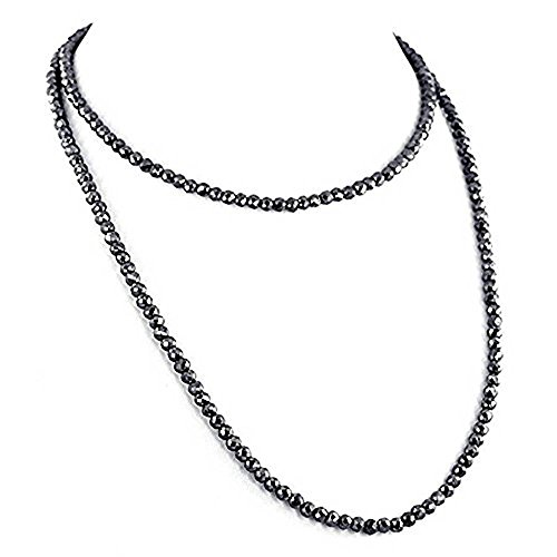 Certified 6mm Round Black Diamond Beads Necklace with 925 Silver Clasp 28 inch by Barishh